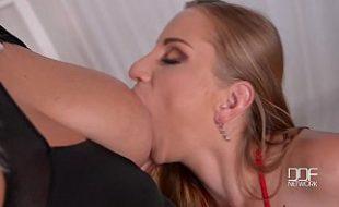 Lésbicas peitudas fodendo e gozando com um pau de plástico